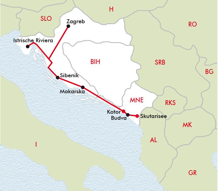 Kotor Montenegro Karte.Kroatien Montenegro