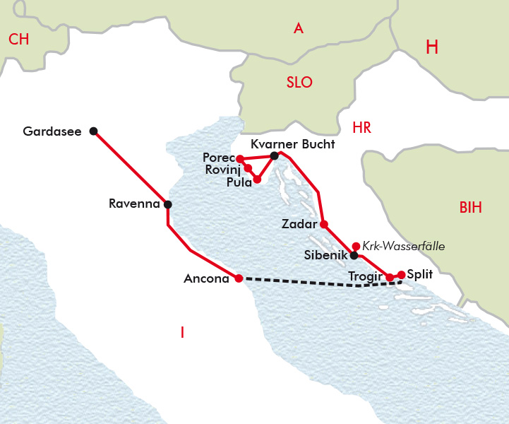 Karte Kroatien Pula.Kroatien Italien Eine Zeitreise